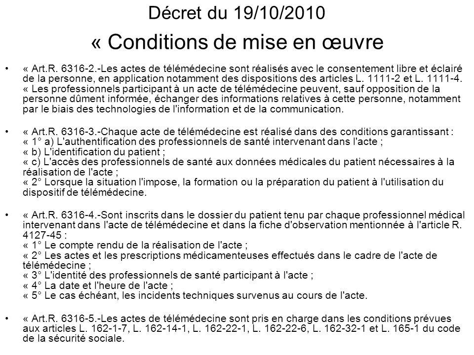 Décret du 19/10/2010 « Conditions de mise en œuvre « Art.R. 6316-2.-Les actes de télémédecine sont réalisés avec le consentement libre et éclairé de l