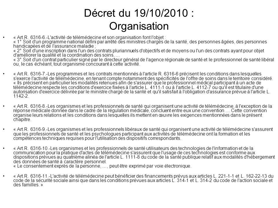 Décret du 19/10/2010 : Organisation « Art.R. 6316-6.-L'activité de télémédecine et son organisation font l'objet : « 1° Soit d'un programme national d