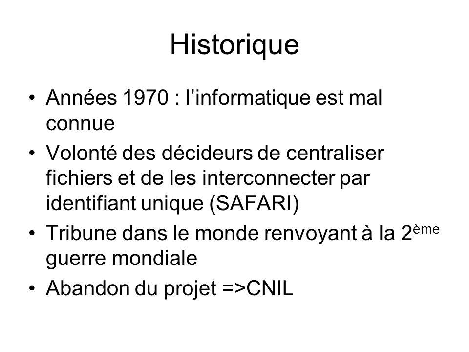 Historique Années 1970 : linformatique est mal connue Volonté des décideurs de centraliser fichiers et de les interconnecter par identifiant unique (S