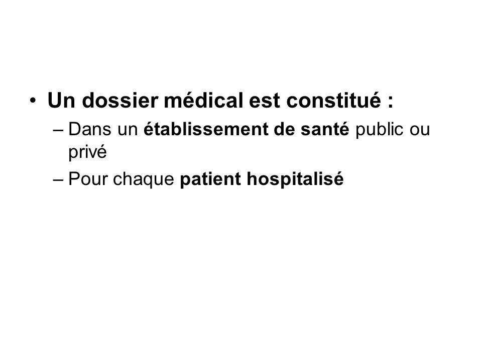 Un dossier médical est constitué : –Dans un établissement de santé public ou privé –Pour chaque patient hospitalisé