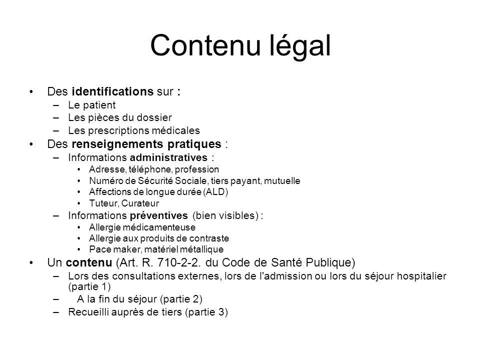 Contenu légal Des identifications sur : –Le patient –Les pièces du dossier –Les prescriptions médicales Des renseignements pratiques : –Informations a