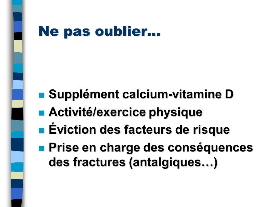 Ne pas oublier… n Supplément calcium-vitamine D n Activité/exercice physique n Éviction des facteurs de risque n Prise en charge des conséquences des