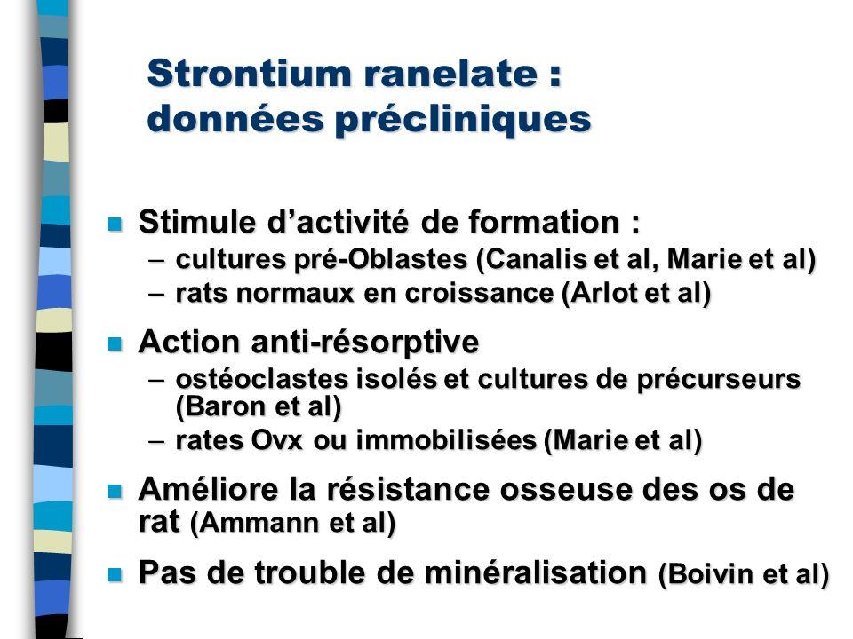 Strontium ranelate : données précliniques n Stimule dactivité de formation : –cultures pré-Oblastes (Canalis et al, Marie et al) –rats normaux en croi