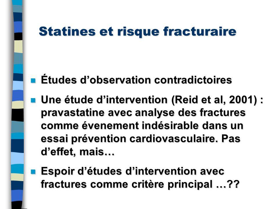 Statines et risque fracturaire n Études dobservation contradictoires n Une étude dintervention (Reid et al, 2001) : pravastatine avec analyse des frac