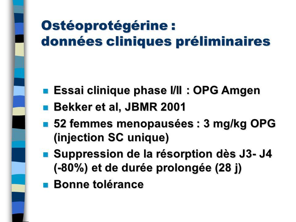 Ostéoprotégérine : données cliniques préliminaires n Essai clinique phase I/II : OPG Amgen n Bekker et al, JBMR 2001 n 52 femmes menopausées : 3 mg/kg