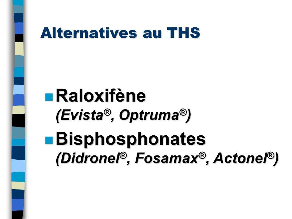 Alternatives au THS n Raloxifène (Evista ®, Optruma ® ) n Bisphosphonates (Didronel ®, Fosamax ®, Actonel ® )