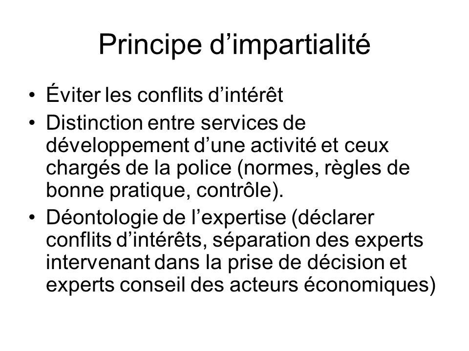 Principe dimpartialité Éviter les conflits dintérêt Distinction entre services de développement dune activité et ceux chargés de la police (normes, rè