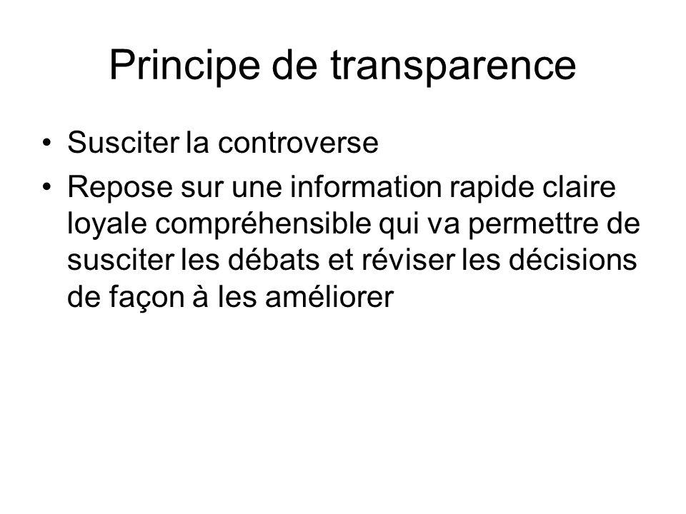 Principe de transparence Susciter la controverse Repose sur une information rapide claire loyale compréhensible qui va permettre de susciter les débat