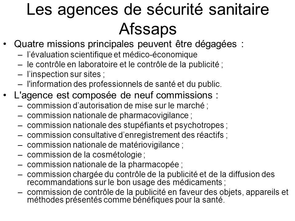 Les agences de sécurité sanitaire Afssaps Quatre missions principales peuvent être dégagées : –lévaluation scientifique et médico-économique –le contr