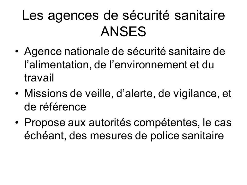 Les agences de sécurité sanitaire ANSES Agence nationale de sécurité sanitaire de lalimentation, de lenvironnement et du travail Missions de veille, d