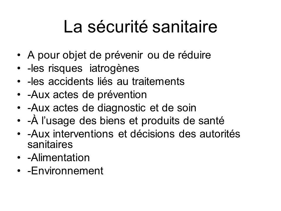 La sécurité sanitaire A pour objet de prévenir ou de réduire -les risques iatrogènes -les accidents liés au traitements -Aux actes de prévention -Aux