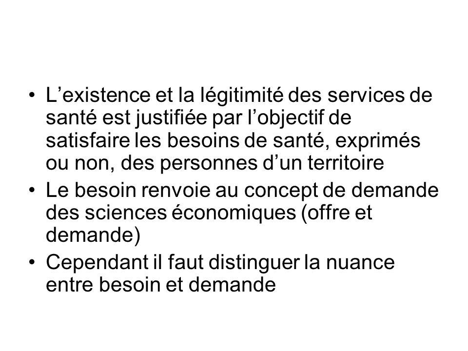 Lexistence et la légitimité des services de santé est justifiée par lobjectif de satisfaire les besoins de santé, exprimés ou non, des personnes dun t