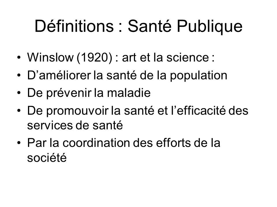 Définitions : Santé Publique Winslow (1920) : art et la science : Daméliorer la santé de la population De prévenir la maladie De promouvoir la santé e