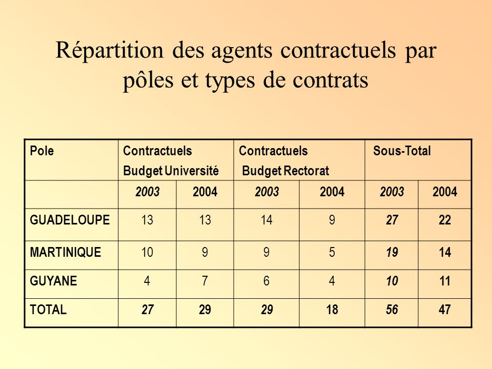 Répartition des agents contractuels par pôles et types de contrats PoleContractuels Budget Université Contractuels Budget Rectorat Sous-Total 2003 200