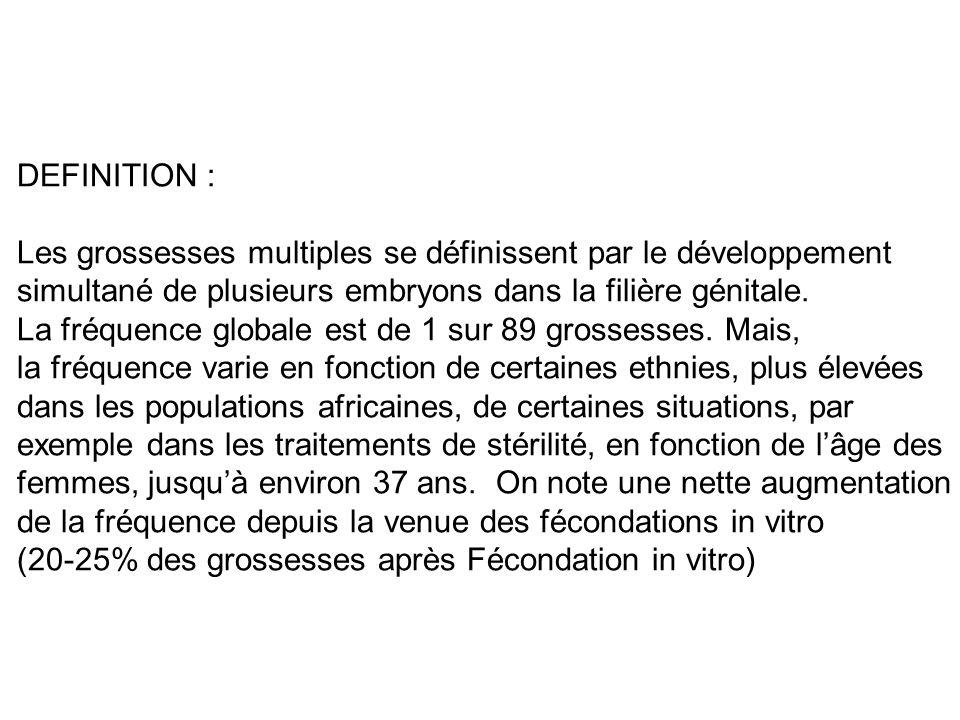DEFINITION : Les grossesses multiples se définissent par le développement simultané de plusieurs embryons dans la filière génitale. La fréquence globa