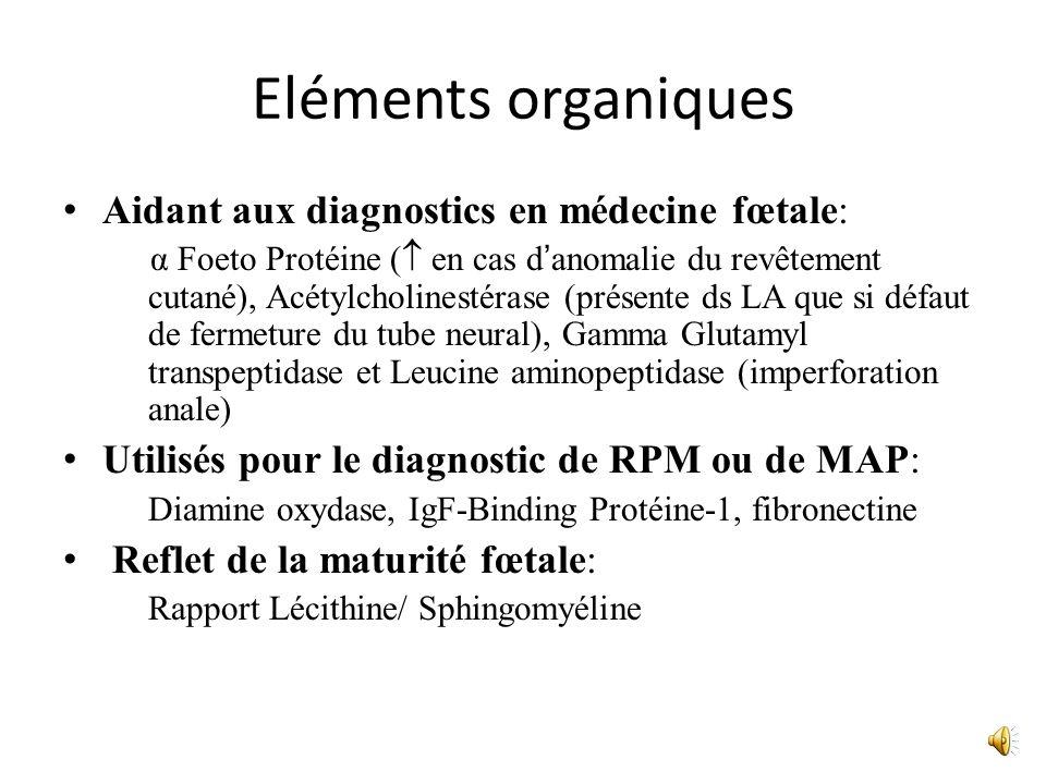 Eléments organiques Aidant aux diagnostics en médecine fœtale: α Foeto Protéine ( en cas danomalie du revêtement cutané), Acétylcholinestérase (présen