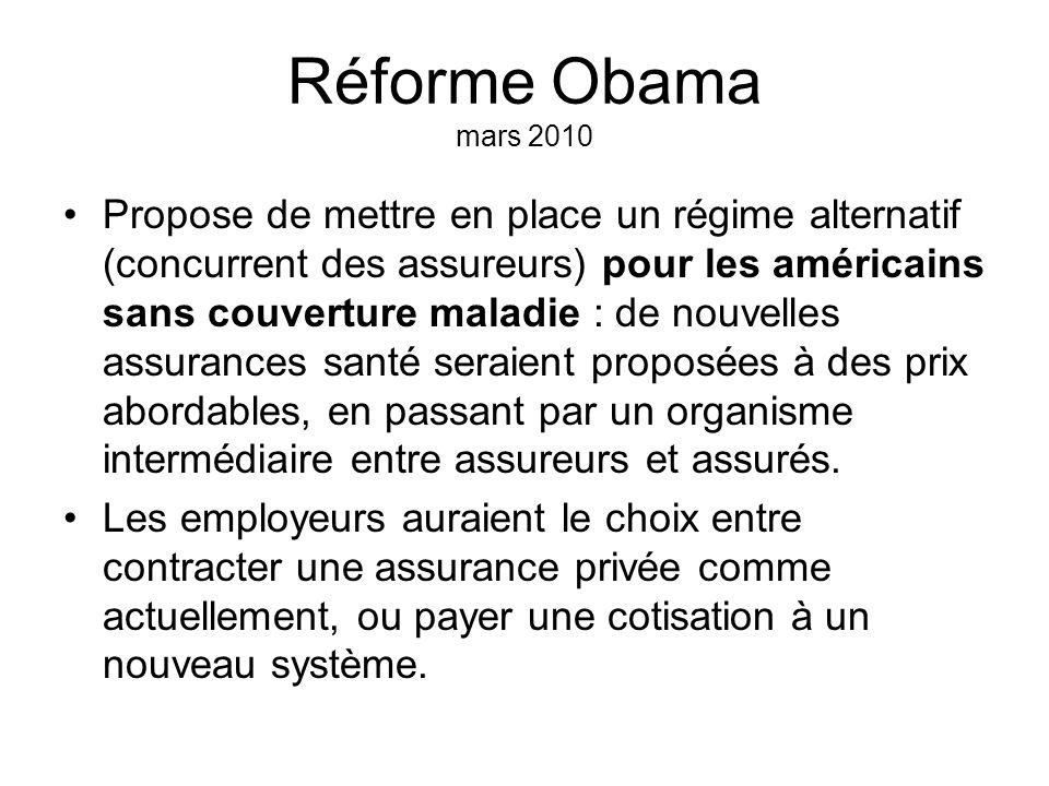Réforme Obama mars 2010 Propose de mettre en place un régime alternatif (concurrent des assureurs) pour les américains sans couverture maladie : de no