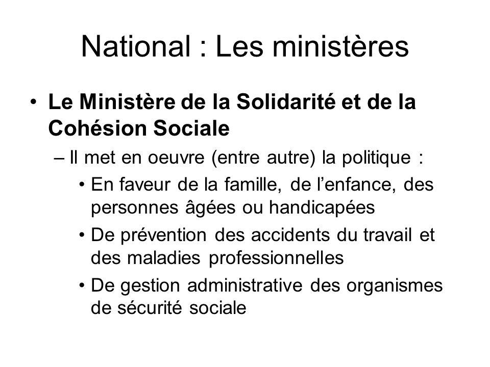 National : Les ministères Le Ministère de la Solidarité et de la Cohésion Sociale –Il met en oeuvre (entre autre) la politique : En faveur de la famil