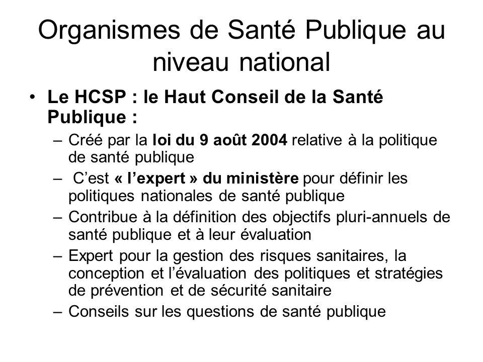 Organismes de Santé Publique au niveau national Le HCSP : le Haut Conseil de la Santé Publique : –Créé par la loi du 9 août 2004 relative à la politiq