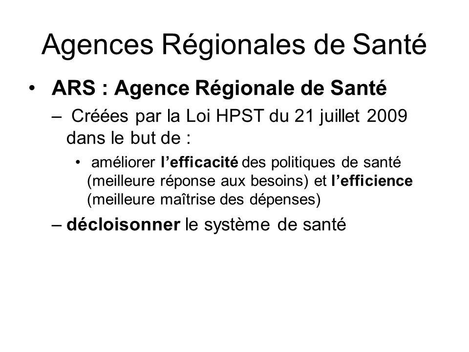 Agences Régionales de Santé ARS : Agence Régionale de Santé – Créées par la Loi HPST du 21 juillet 2009 dans le but de : améliorer lefficacité des pol