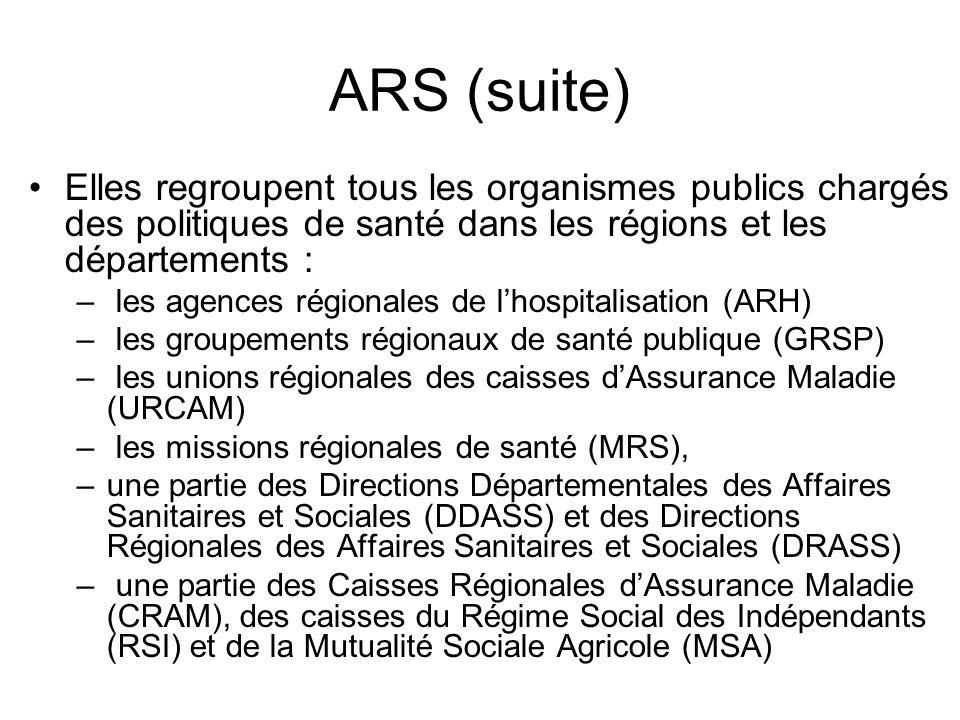 ARS (suite) Elles regroupent tous les organismes publics chargés des politiques de santé dans les régions et les départements : – les agences régional