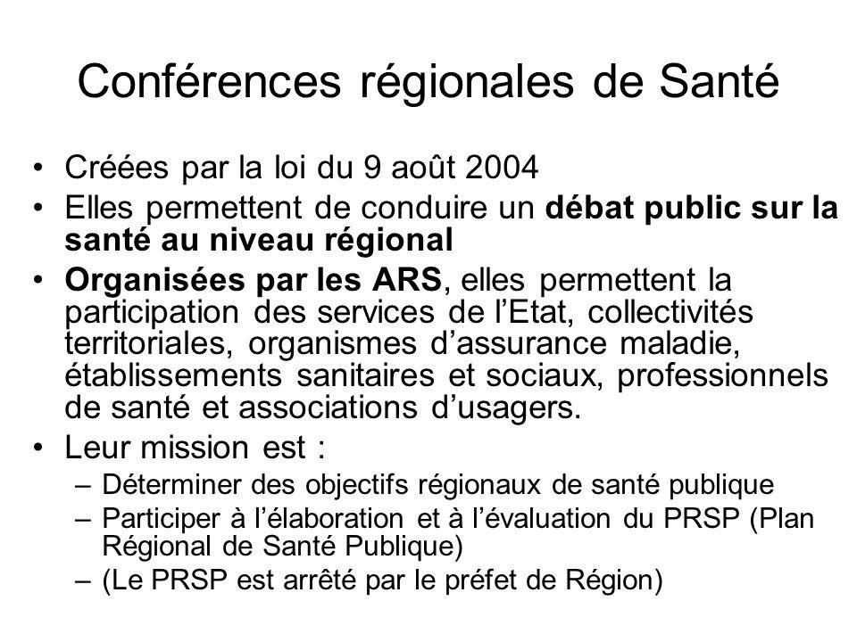 Conférences régionales de Santé Créées par la loi du 9 août 2004 Elles permettent de conduire un débat public sur la santé au niveau régional Organisé