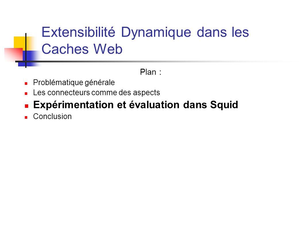 Extensibilité Dynamique dans les Caches Web Plan : Problématique générale Les connecteurs comme des aspects Expérimentation et évaluation dans Squid C