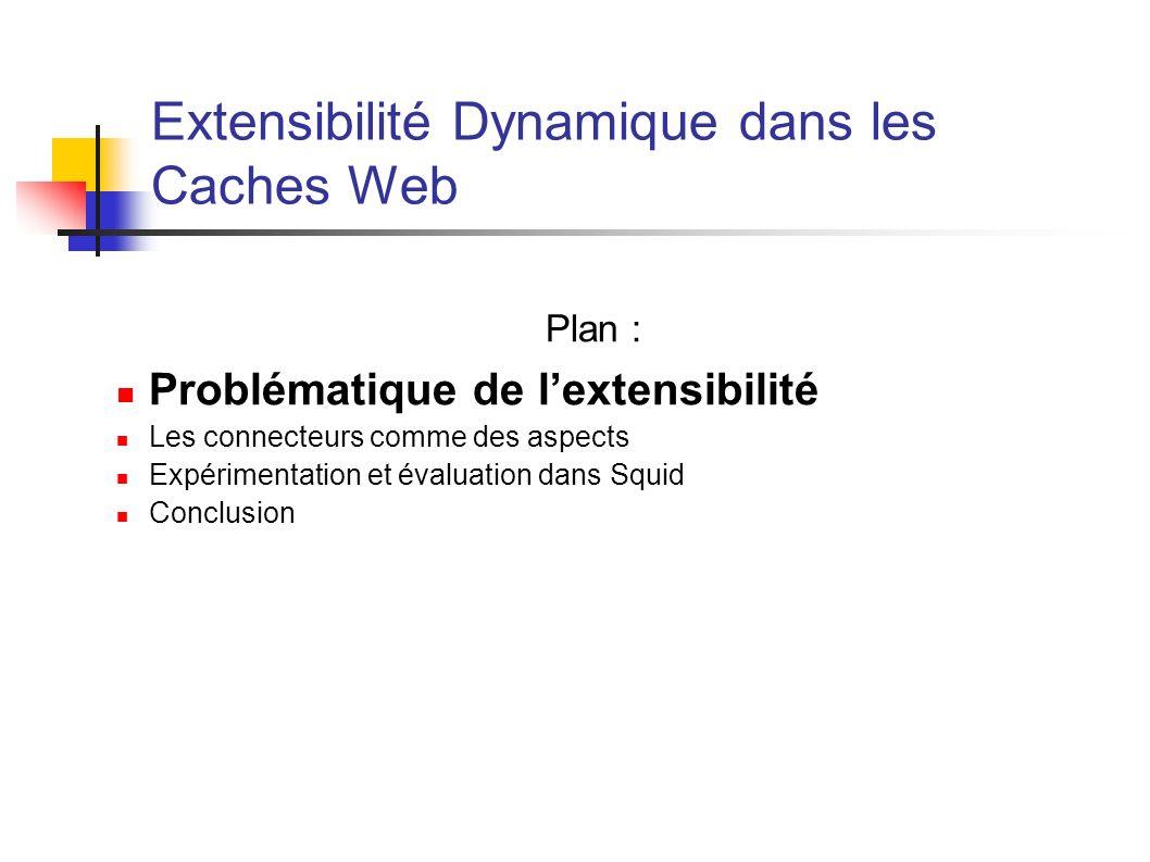 Extensibilité Dynamique dans les Caches Web Plan : Problématique de lextensibilité Les connecteurs comme des aspects Expérimentation et évaluation dans Squid Conclusion