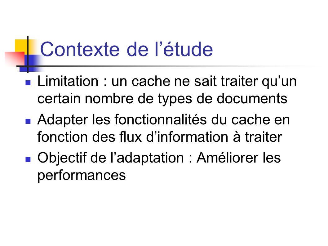 Contexte de létude Limitation : un cache ne sait traiter quun certain nombre de types de documents Adapter les fonctionnalités du cache en fonction des flux dinformation à traiter Objectif de ladaptation : Améliorer les performances