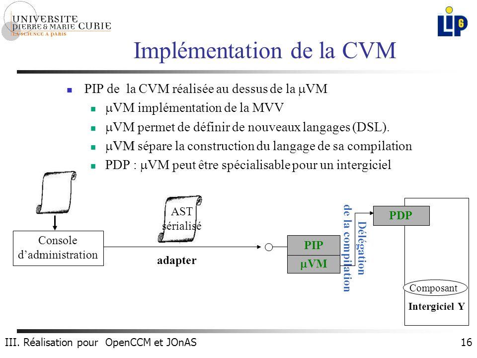 16 Implémentation de la CVM PIP de la CVM réalisée au dessus de la VM VM implémentation de la MVV VM permet de définir de nouveaux langages (DSL).