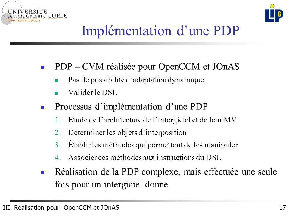 17 Implémentation dune PDP PDP – CVM réalisée pour OpenCCM et JOnAS Pas de possibilité dadaptation dynamique Valider le DSL Processus dimplémentation dune PDP 1.Etude de larchitecture de lintergiciel et de leur MV 2.Déterminer les objets dinterposition 3.Établir les méthodes qui permettent de les manipuler 4.Associer ces méthodes aux instructions du DSL Réalisation de la PDP complexe, mais effectuée une seule fois pour un intergiciel donné III.