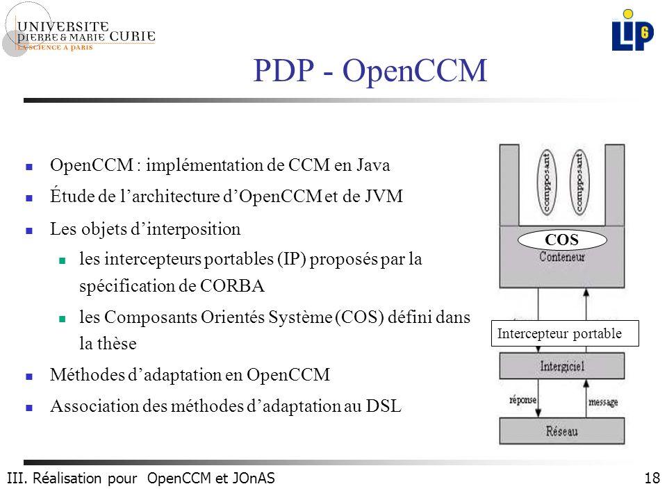 18 PDP - OpenCCM OpenCCM : implémentation de CCM en Java Étude de larchitecture dOpenCCM et de JVM Les objets dinterposition les intercepteurs portables (IP) proposés par la spécification de CORBA les Composants Orientés Système (COS) défini dans la thèse Méthodes dadaptation en OpenCCM Association des méthodes dadaptation au DSL Intercepteur portable COS III.