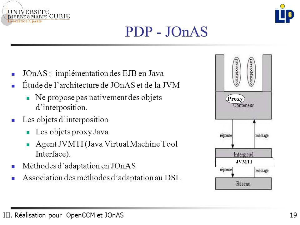 19 PDP - JOnAS JOnAS : implémentation des EJB en Java Étude de larchitecture de JOnAS et de la JVM Ne propose pas nativement des objets dinterposition.