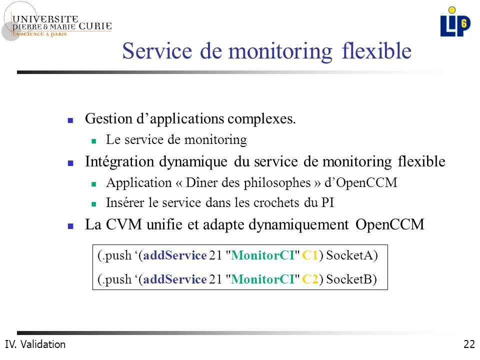 22 Service de monitoring flexible Gestion dapplications complexes. Le service de monitoring Intégration dynamique du service de monitoring flexible Ap