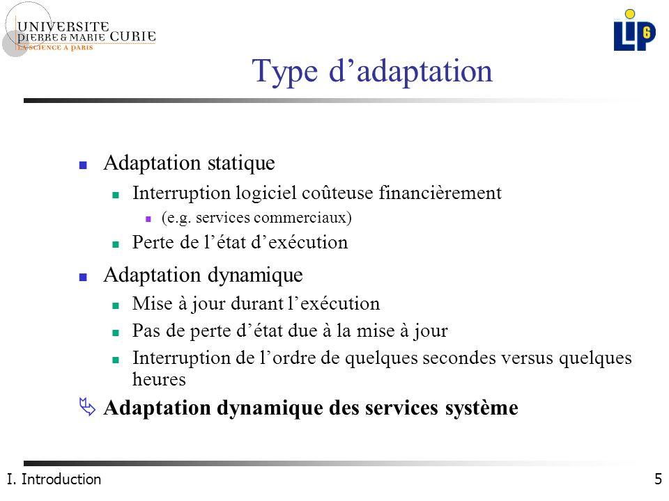 5 Type dadaptation Adaptation statique Interruption logiciel coûteuse financièrement (e.g.
