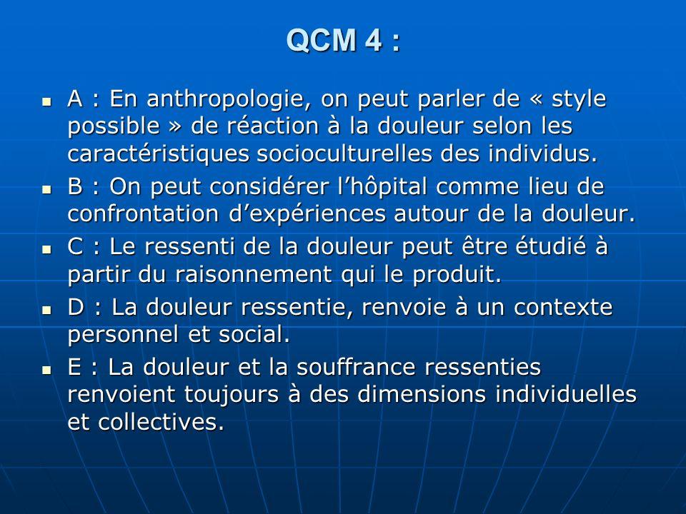 QCM 5 : A- On peut dire que la douleur sexprime à travers un corps socialisé.