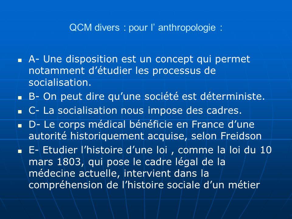QCM divers : pour l anthropologie : A- Une disposition est un concept qui permet notamment détudier les processus de socialisation. B- On peut dire qu