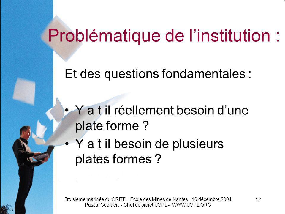 D Troisième matinée du CRITE - Ecole des Mines de Nantes - 16 décembre 2004 Pascal Geeraert - Chef de projet UVPL - WWW.UVPL.ORG 12 Problématique de linstitution : Et des questions fondamentales : Y a t il réellement besoin dune plate forme .