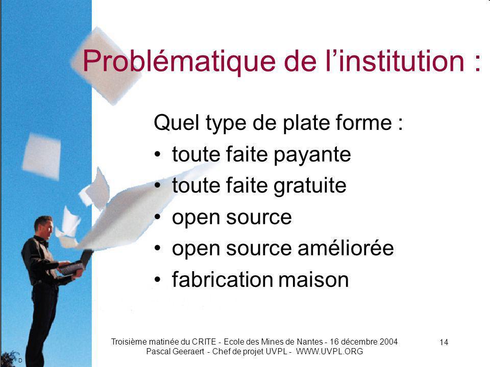 D Troisième matinée du CRITE - Ecole des Mines de Nantes - 16 décembre 2004 Pascal Geeraert - Chef de projet UVPL - WWW.UVPL.ORG 14 Problématique de linstitution : Quel type de plate forme : toute faite payante toute faite gratuite open source open source améliorée fabrication maison