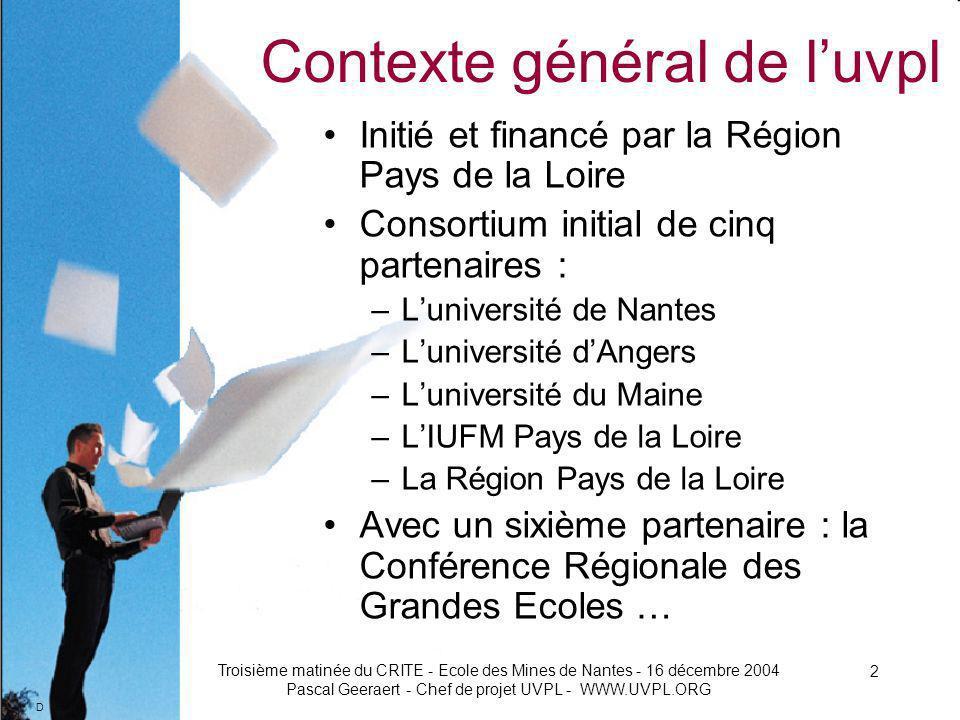 D Troisième matinée du CRITE - Ecole des Mines de Nantes - 16 décembre 2004 Pascal Geeraert - Chef de projet UVPL - WWW.UVPL.ORG 3 Contexte général de luvpl 1.