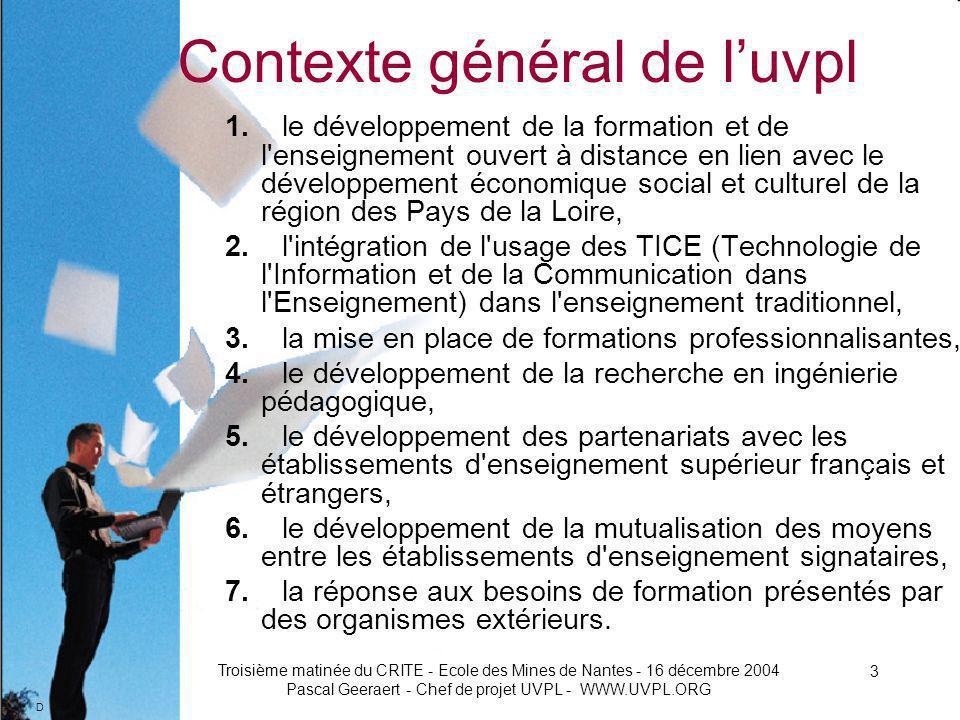 D Troisième matinée du CRITE - Ecole des Mines de Nantes - 16 décembre 2004 Pascal Geeraert - Chef de projet UVPL - WWW.UVPL.ORG 24