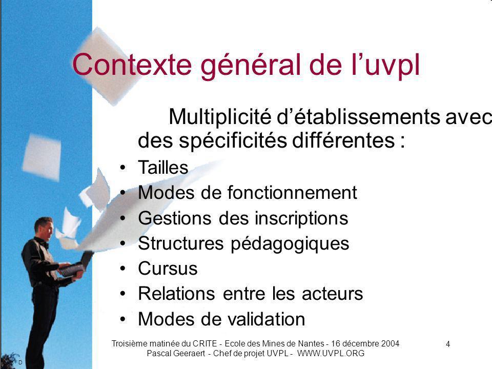D Troisième matinée du CRITE - Ecole des Mines de Nantes - 16 décembre 2004 Pascal Geeraert - Chef de projet UVPL - WWW.UVPL.ORG 5 Contexte général de luvpl Potentiel de 70.000 étudiants présentiels Potentiel étudiants distants