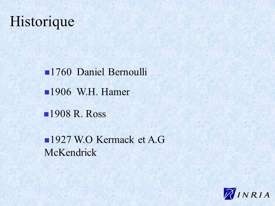 Historique n 1760 Daniel Bernoulli n n 1927 W.O Kermack et A.G McKendrick n n 1906 W.H. Hamer n n 1908 R. Ross
