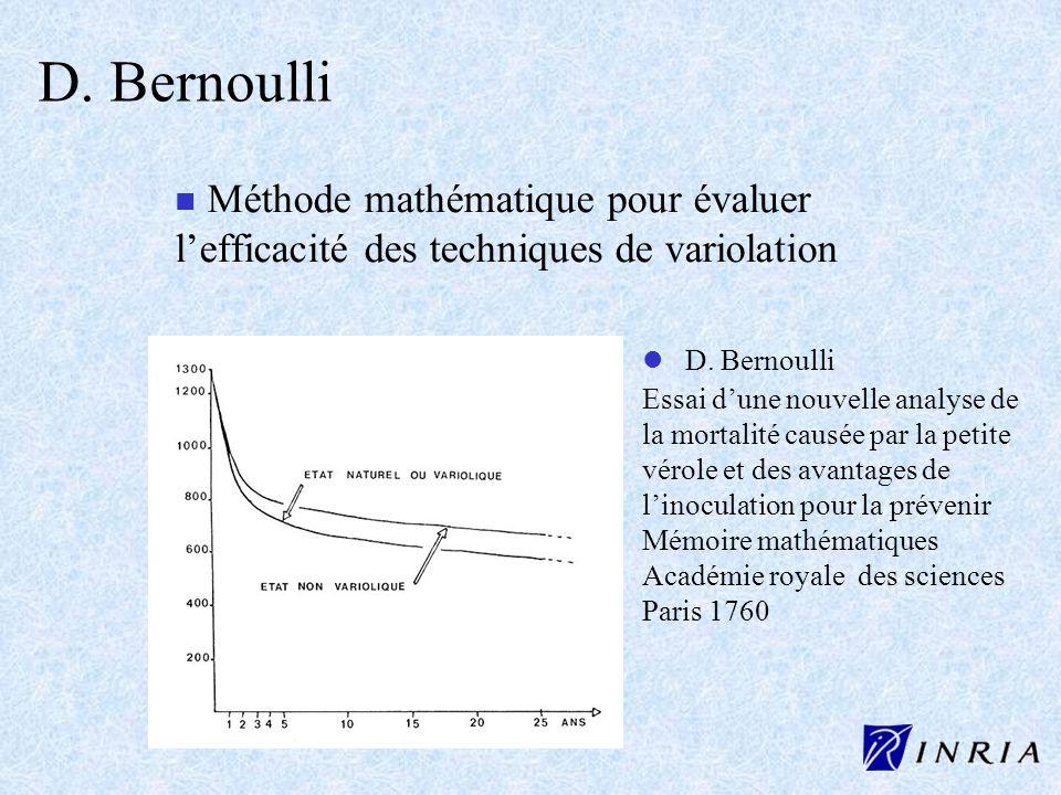 D. Bernoulli n Méthode mathématique pour évaluer lefficacité des techniques de variolation l l D. Bernoulli Essai dune nouvelle analyse de la mortalit