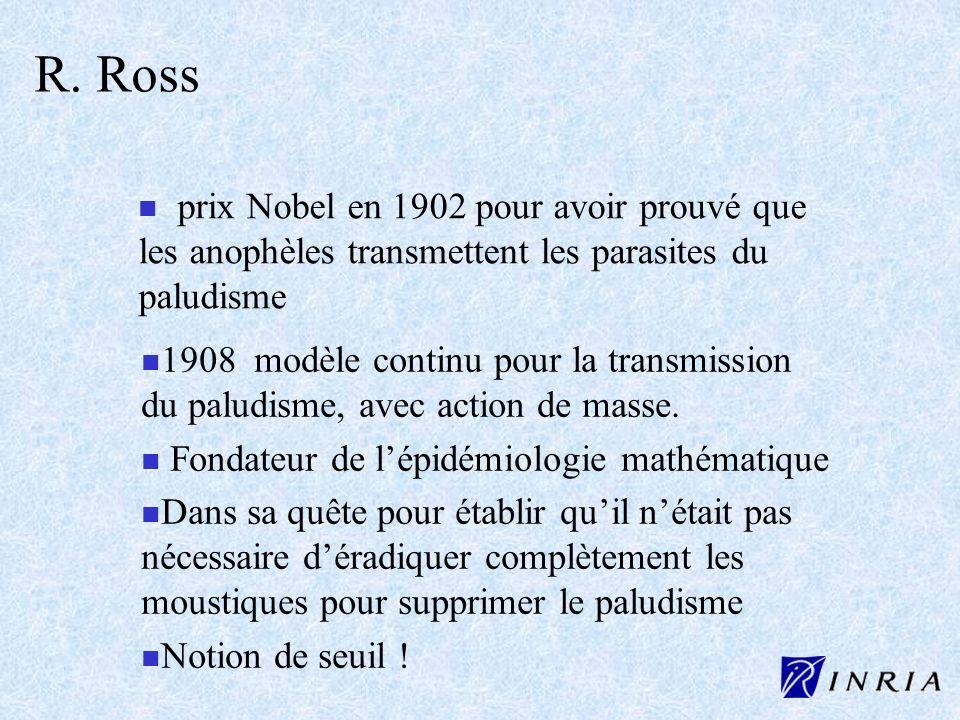 R. Ross n prix Nobel en 1902 pour avoir prouvé que les anophèles transmettent les parasites du paludisme n n 1908 modèle continu pour la transmission