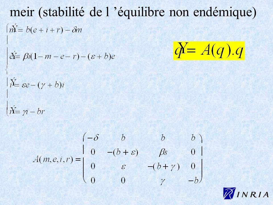 meir (stabilité de l équilibre non endémique)