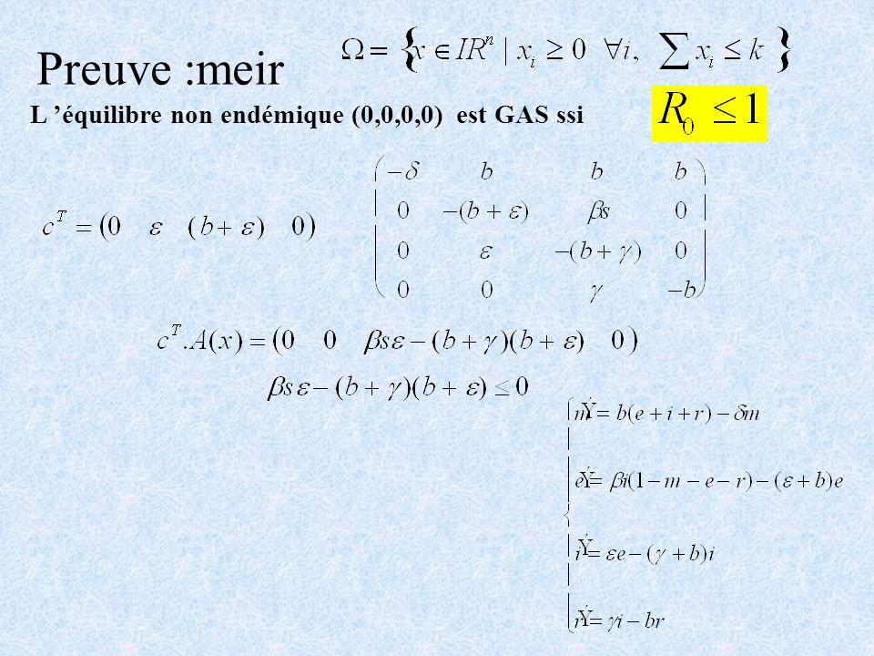 Preuve :meir L équilibre non endémique (0,0,0,0) est GAS ssi