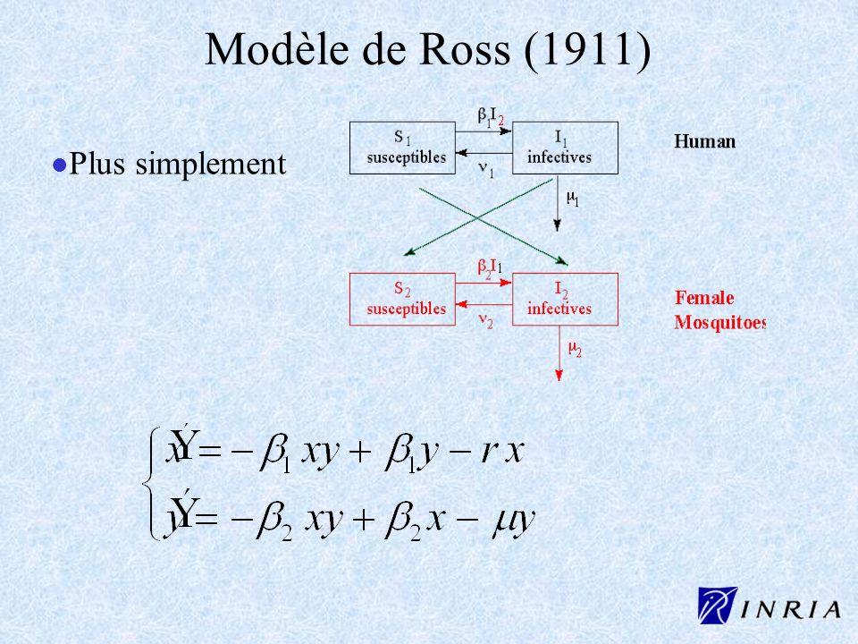 Modèle de Ross (1911) l l Plus simplement