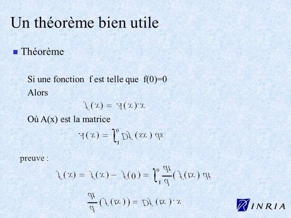 Un théorème bien utile n n Théorème Si une fonction f est telle que f(0)=0 Alors Où A(x) est la matrice preuve :