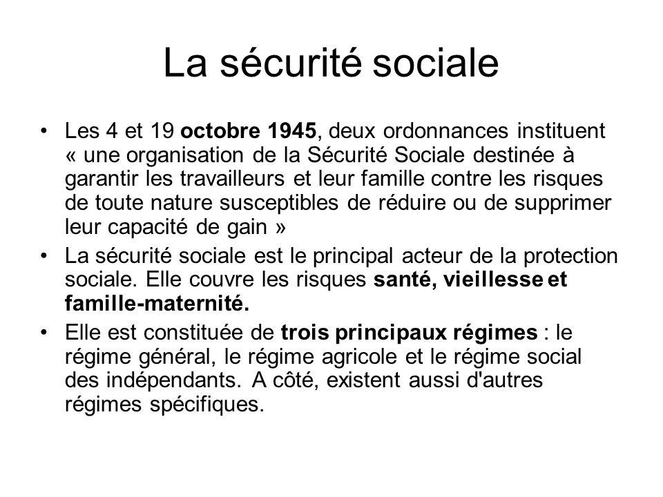 Constituée de 3 principaux régimes + dautres… Le régime général : –Il est l assureur solidaire de 80% des français.